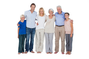 multi-generation family white bkgd (standing)